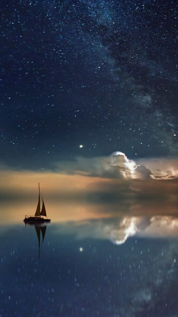 360x640 Wallpaper starry sky, boat, reflection, sail, night
