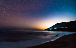 Preview wallpaper starry sky, mountains, night, sea, stars, shore