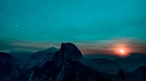 Preview wallpaper starry sky, mountains, sunrise, yosemite valley