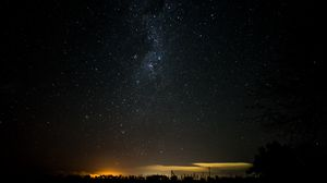 Preview wallpaper starry sky, night, horizon, shine, night landscape