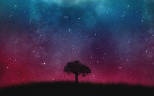 Preview wallpaper starry sky, night, tree