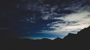 Preview wallpaper stars, night, sky, mountains