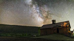 Preview wallpaper stars, sky, night, barn