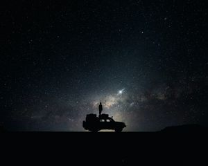 Preview wallpaper stars, sky, space, car