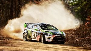 Preview wallpaper stones, wrc, 2012, ford fiesta, drift, rally, showdown, dirt, dust