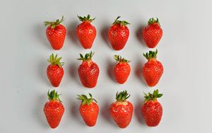 Preview wallpaper strawberries, berries, minimalism, juicy, ripe