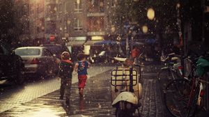Preview wallpaper street, children, running, rain, city