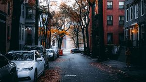 Preview wallpaper street, city, autumn, cars, trees