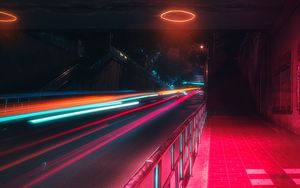 Preview wallpaper street, neon, lights, motion, long exposure, night