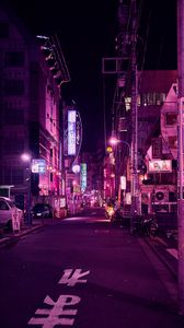 Preview wallpaper street, neon, night city, backlight, purple, tokyo
