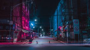 Preview wallpaper street, night city, neon, buildings