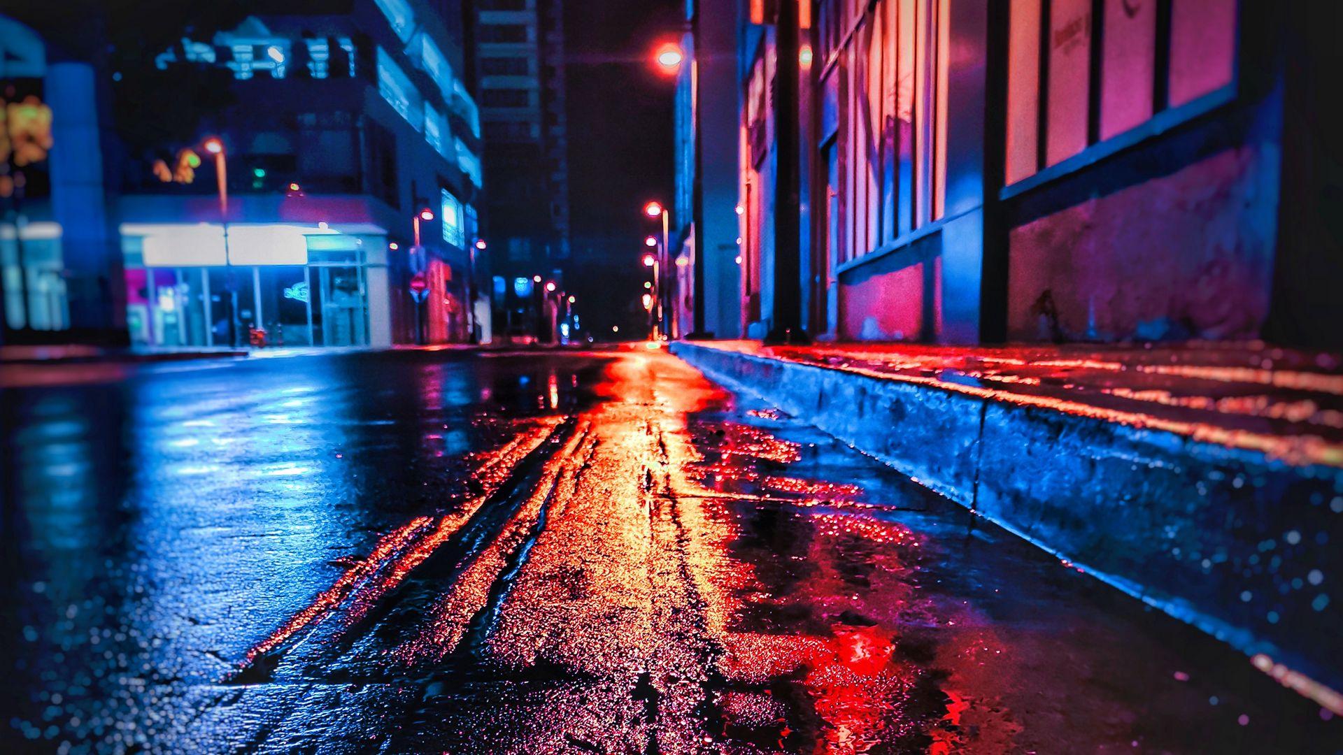 Download wallpaper 1920x1080 street, night, wet, neon, city full hd, hdtv, fhd, 1080p hd background