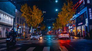 Preview wallpaper street, road, neon, marking