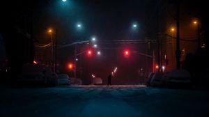 Preview wallpaper street, silhouette, dark, night, snow