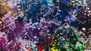 Preview wallpaper structure, complex, details, colorful, 3d