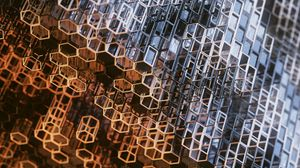 Preview wallpaper structure, construction, metallic, hexagons, prisms, mesh