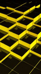 Preview wallpaper structure, cubes, 3d, yellow, black
