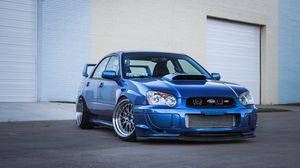 Preview wallpaper subaru, impreza, wrx, sti, blue, garage