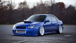 Preview wallpaper subaru impreza, wrx sti, subaru, tuning, blue