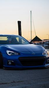 Preview wallpaper subaru, side view, blue, sports car, tuning