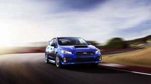Preview wallpaper subaru, wrx, sti, blue, movement, speed