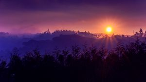 Preview wallpaper sun, sunset, mountains, sky, grass