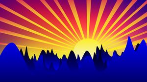 Preview wallpaper sunrise, art, mountains, vector