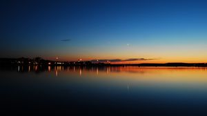 Preview wallpaper sunset, lake, skyline, night city, new brunswick, canada