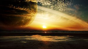 Preview Wallpaper Sunset Sea Rings Planet