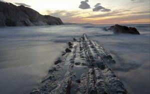 Preview wallpaper sunset, sea, rocks, landscape