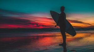 Preview wallpaper surfer, surfing, shore, sunset, twilight