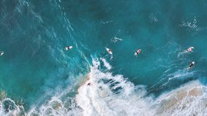 Preview wallpaper surfing, ocean, rocks, aerial view