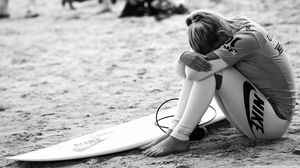 Preview wallpaper surfing, surfer, girl, sport, nike, bw