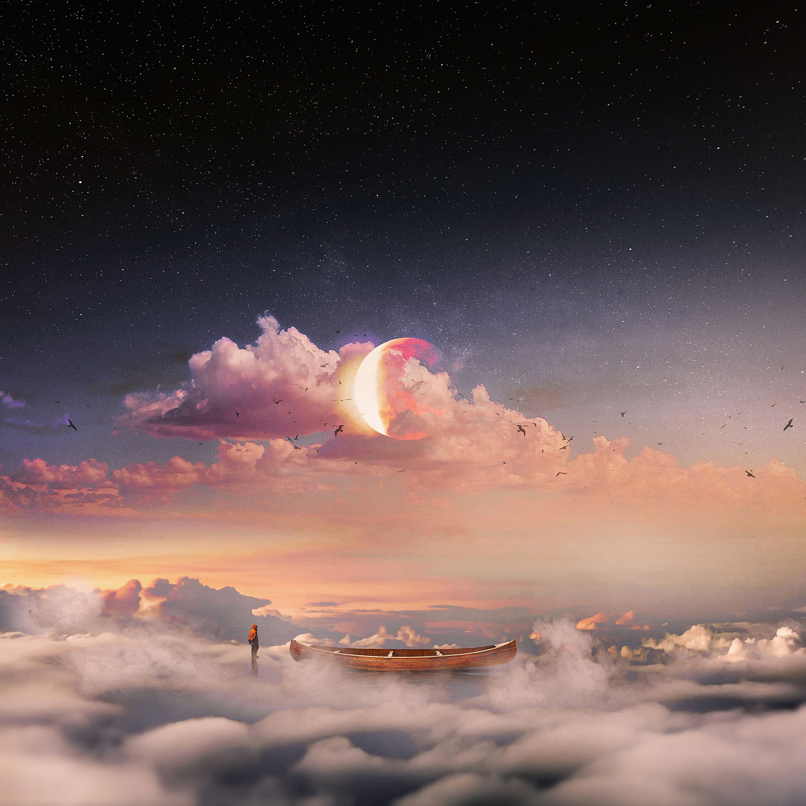 2780x2780 Wallpaper surrealism, boat, clouds, lonely, man, starry sky