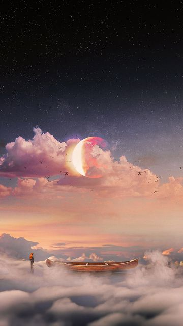 360x640 Wallpaper surrealism, boat, clouds, lonely, man, starry sky