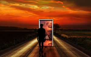 Preview wallpaper surrealism, man, door, imagination