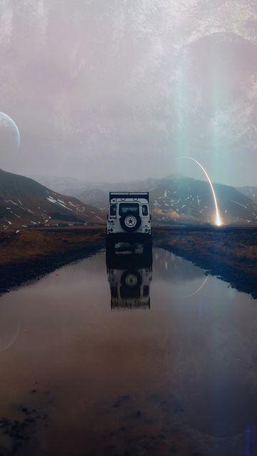 360x640 Wallpaper suv, mountains, water, landscape, alien, traveling, meteorite, reflection, photoshop