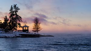 Preview wallpaper sweden, winter, bay, fog, dawn