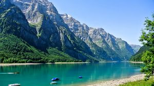 Preview wallpaper switzerland, glarus, mountain, lake, beach