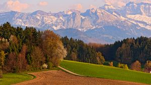 Preview wallpaper switzerland, mountains, landscape, sky, autumn