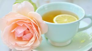 Preview wallpaper tea, cup, lemon, rose