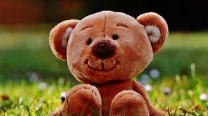 Preview wallpaper teddy bear, toy, grass