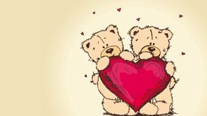 Preview wallpaper teddy bears, picture, romance, couple, heart, love