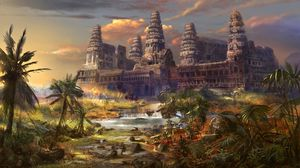Preview wallpaper temple, destruction, palms, different world