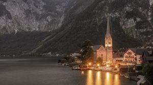 Preview wallpaper temple, mountains, lake, lighting, hallstatt, austria