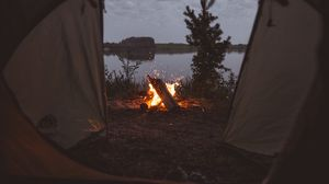Preview wallpaper tent, campfire, camping, fire, sparks