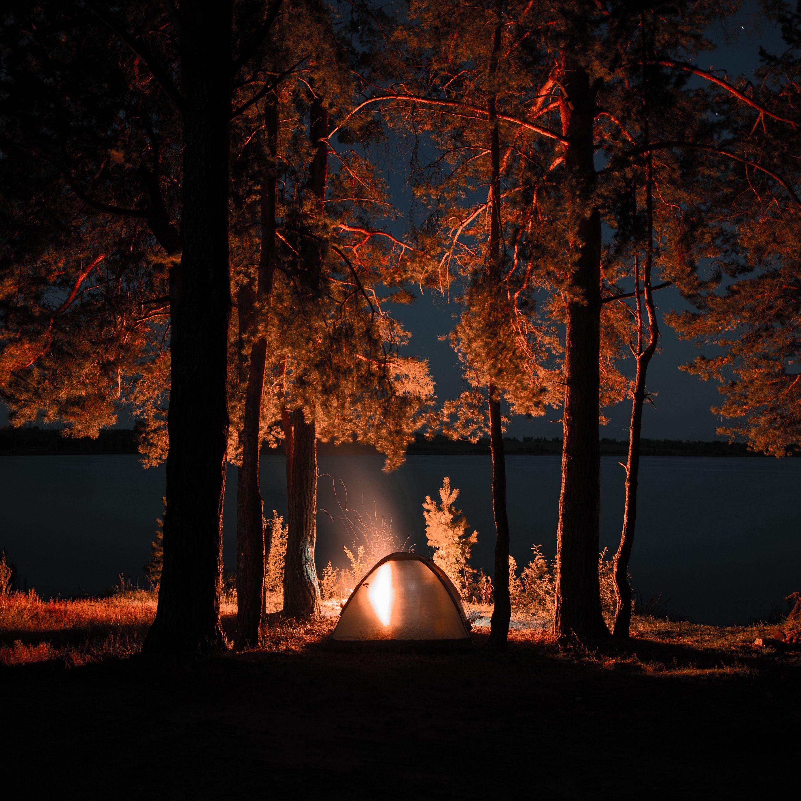 Download wallpaper 2780x2780 tent, campfire, camping ...