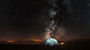 Preview Wallpaper Tent Starry Sky Night Tourism