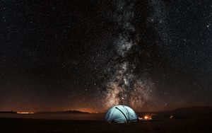 Preview wallpaper tent, starry sky, night, tourism