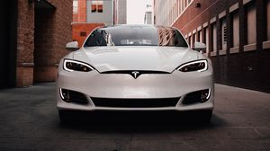 Preview wallpaper tesla model s, tesla, car, electric car, white, front view